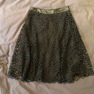 Anthropologie black lace A-line skirt